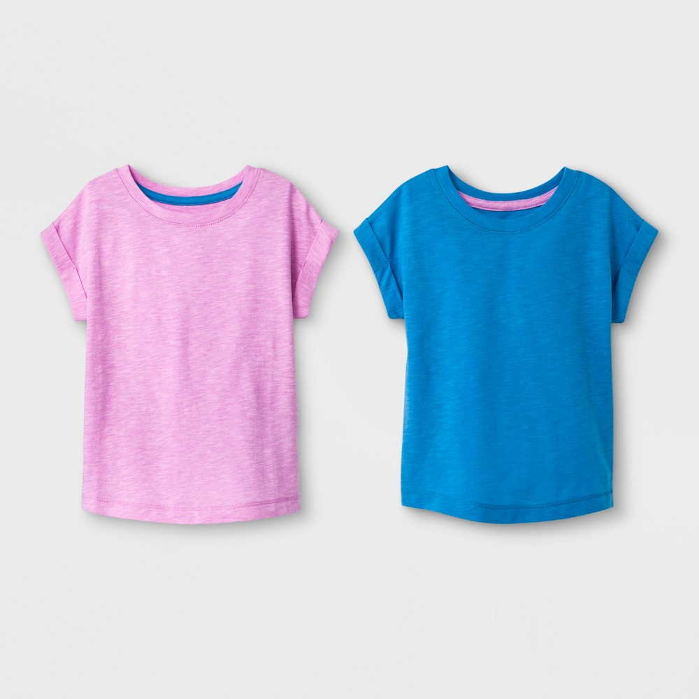 Toddler Girls' 2pk T-Shirts - Cat & Jack Royal Blue and Violet 2T, Purple