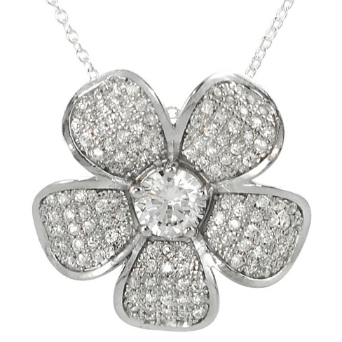 1 1/3 CT. T.W. Tressa Round Cut Cubic Zirconia Pave Flower Pendant Necklace in Sterling Silver - Silver - image 1 of 3