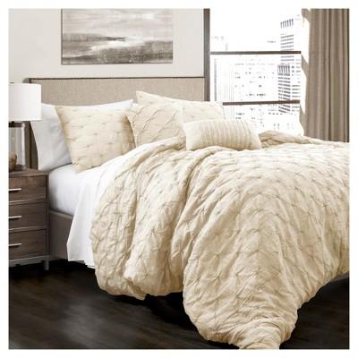 Full/Queen 5pc Ravello Pintuck Comforter Set White - Lush Décor