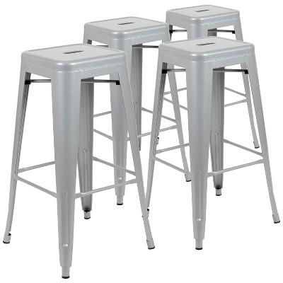 "Flash Furniture 30"" High Metal Indoor Bar Stool - Stackable Set of 4"