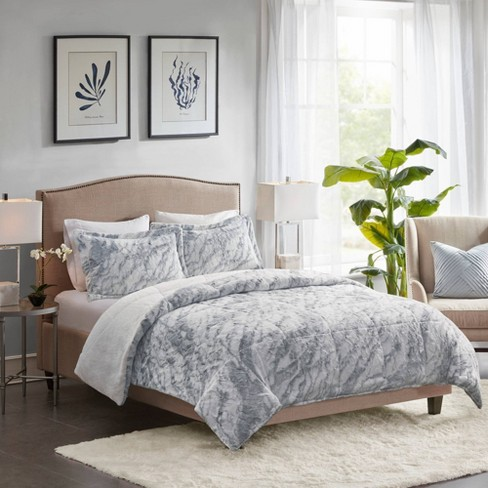 Naomi Marble Faux Fur Comforter Set, Blue Gray Bedding