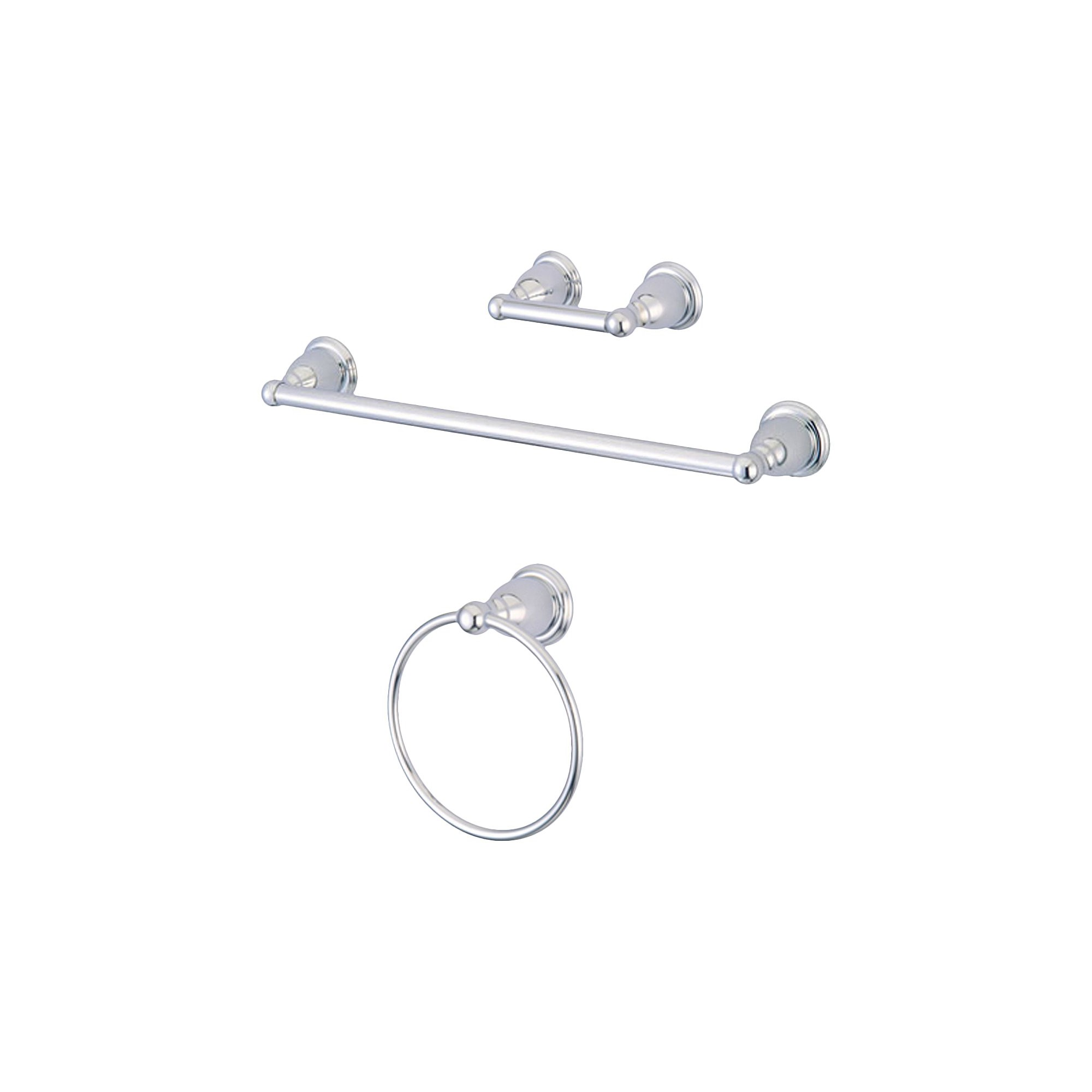 Traditional Solid Brass Chrome 3-piece Towel Bar Bath Accessory Set - Kingston Brass