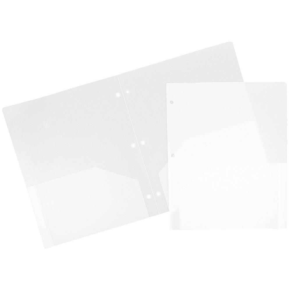 Jam 6pk Heavy Duty 3 Hole Punch 2 Pocket Paper Folder Clear