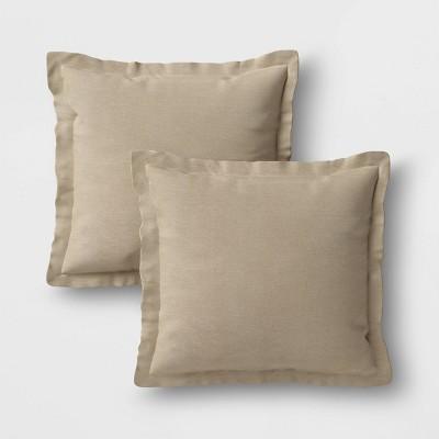 2pk Outdoor Throw Pillows DuraSeason Fabric™ Tan - Threshold™