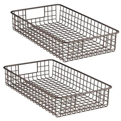 "mDesign Metal Wire Storage Basket Bin for Closets, 6"" High, 2 Pack"