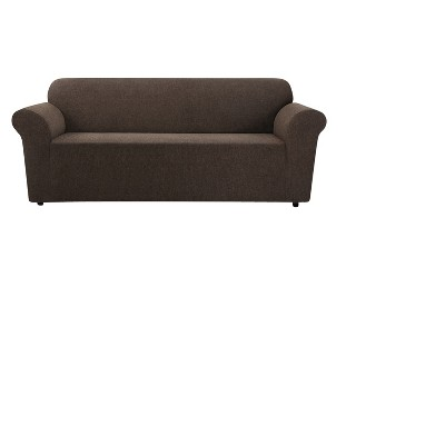 Chocolate Stretch Chenille Sofa Slipcover - Sure Fit