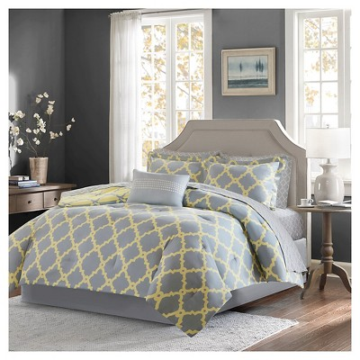9pc King Becker Printed Complete Bed Set Gray