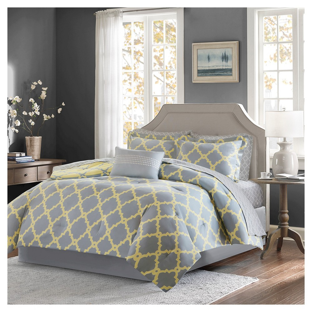 9pc California King Becker Printed Complete Bed Set Gray