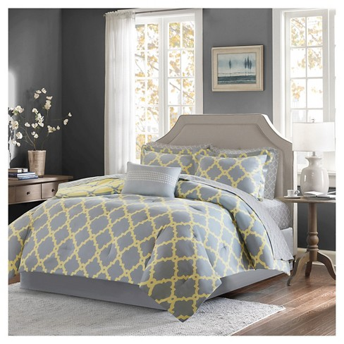 9pc King Becker Printed Complete Bed Set Gray Target