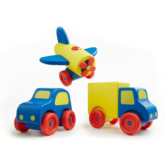 Melissa & Doug Deluxe Wooden First Vehicles Set With Truck, Car, and Airplane image number null