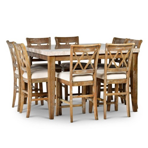 9pc Fran Counter Height Dining Set Weathered Gray - Steve Silver - image 1 of 4
