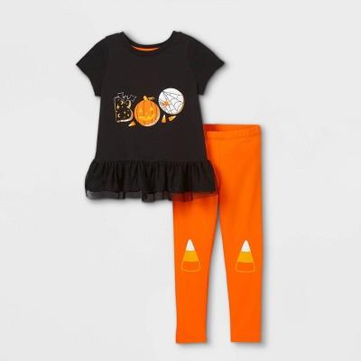 Toddler Girls' 'Boo' Peplum Top & Candy Corn Leggings Set - Cat & Jack™ Black/Orange