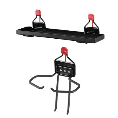 Rubbermaid Outdoor Metal Backyard Storage Accessories Shelf, Black and Rubbermaid Storage Shed Mounted Power Tool Holder Accessory