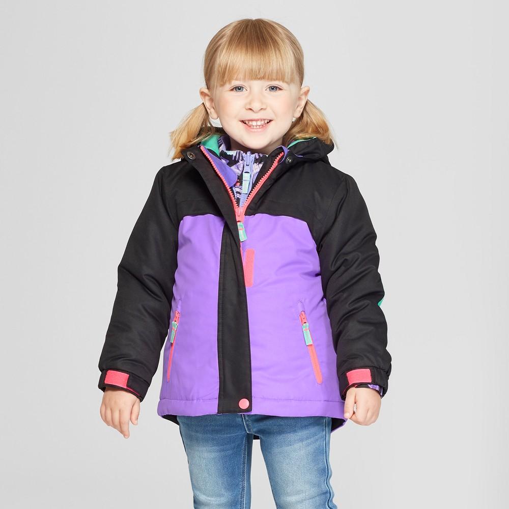 Toddler Girls' Colorblock 3-in-1 Jacket - Cat & Jack Black 3T