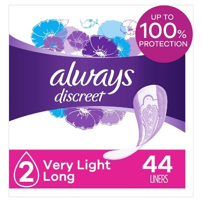 Always Discreet Incontinence and Postpartum Incontinence Long Length Liners - Very Light Absorbency - 44ct