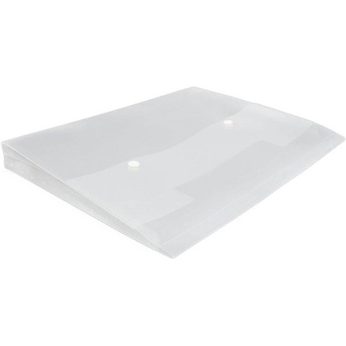"""JAM Paper 10'' x 12 1/2'' Plastic Portfolio with Two Button Snap Closure, 1"""" Expansion, Letter Booklet - Clear - image 1 of 2"""