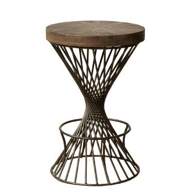 "30"" Kanister Backless Barstool Pewter/Walnut - Hillsdale Furniture"
