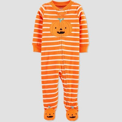 Baby Pumpkin Fleece One Piece Pajama - Just One You® made by carter's Orange Newborn