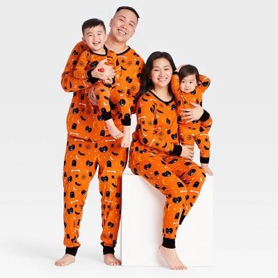Halloween Spooky Print Matching Family Pajama Collection - Orange