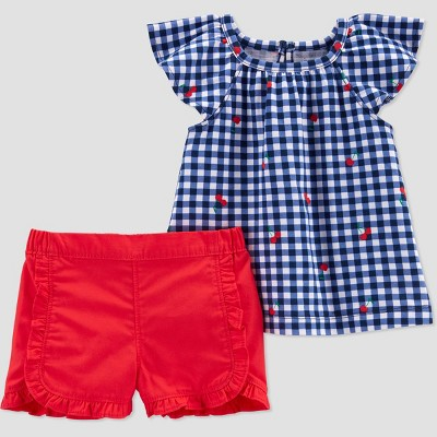 Baby Girls' Gingham Top & Bottom Set - Just One You® made by carter's Red 6M