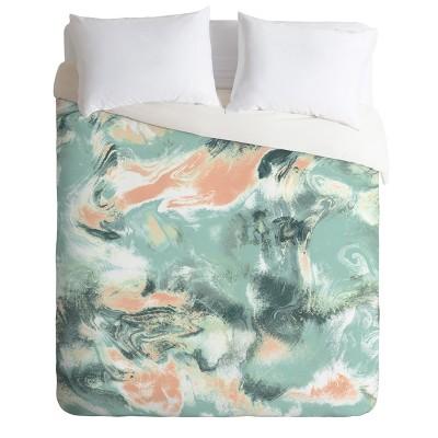 Green Jacqueline Maldonado Marble Mist Duvet Cover - Deny Designs