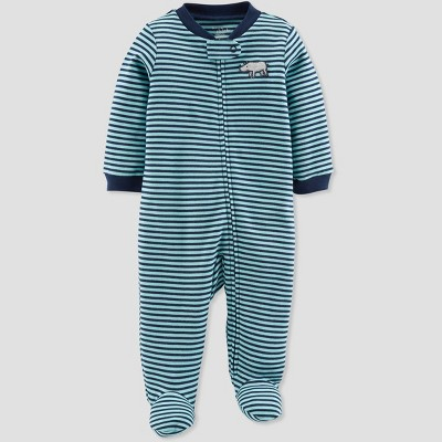 Baby Boys' Stripe Rhino Organic Cotton Sleep 'N Play - Little Planet by Carter's Blue Newborn