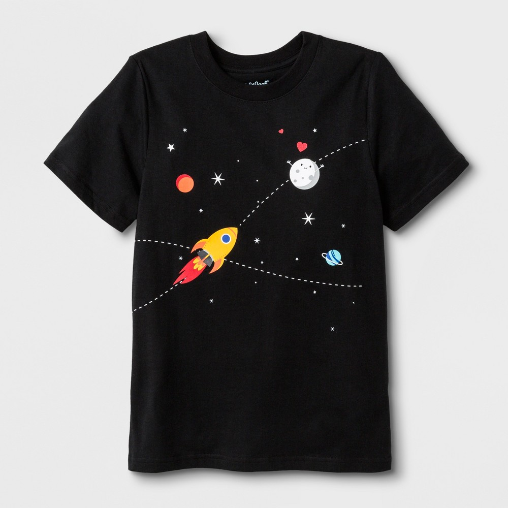 Kids' Short Sleeve Space Graphic T-Shirt - Cat & Jack Black XL, Kids Unisex