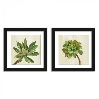 Americanflat Watercolor Succulents - Set of 2 Framed Prints by Wild Apple