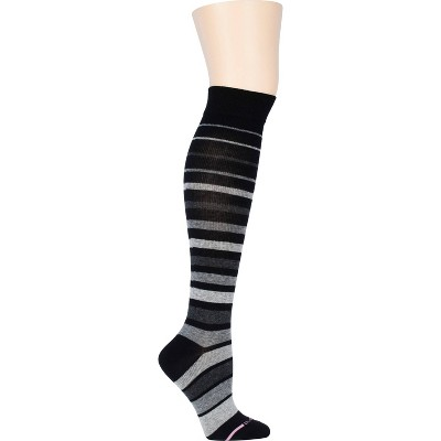 Dr. Motion Women's Mild Compression Variegated Striped Knee High Socks - Black/Gray 4-10