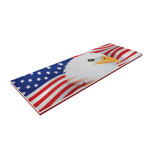 Floatation iQ Floating Oasis 15 x 6 Foot Foam Island Water Pool Lake Lounger Play Pad Mat, American Flag - image 1 of 4