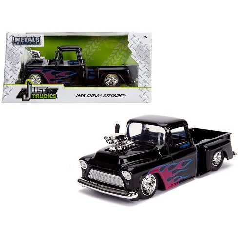 1955 Chevy Truck >> 1955 Chevrolet Stepside Pickup Truck With Blower Glossy Black With Flames Just Trucks Series 1 24 Diecast Car By Jada