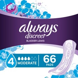 Always Discreet Incontinence Pads for Women - Moderate Absorbency - 66ct