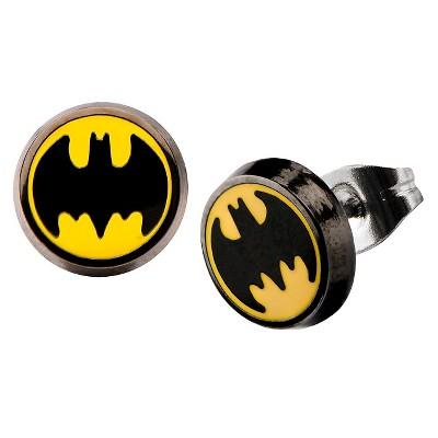 DC Comics Batman Logo Stainless Steel Round Stud Earrings - Black/Yellow