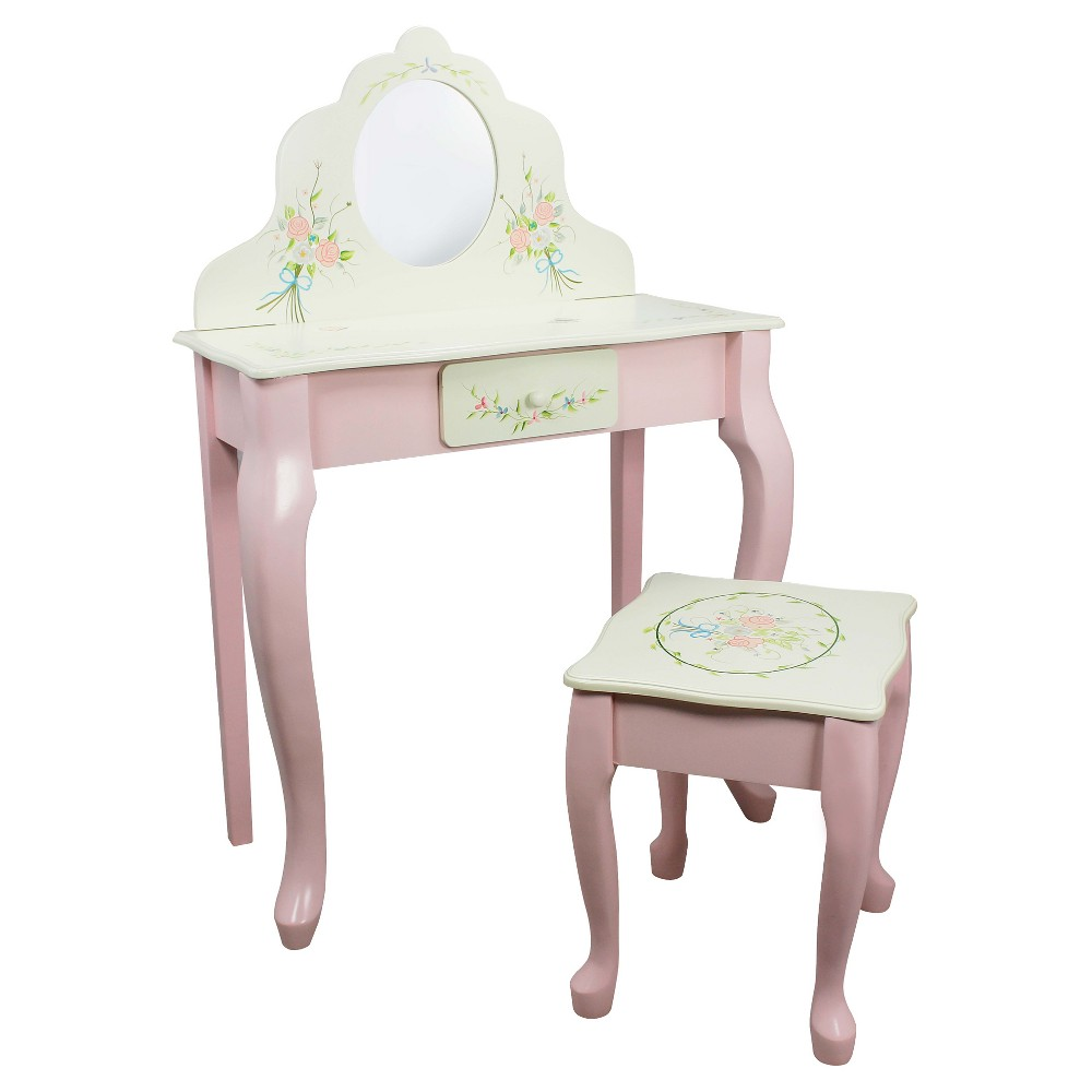 Image of Fantasy Fields Bouquet Classic Vanity Table & Stool Set - Teamson