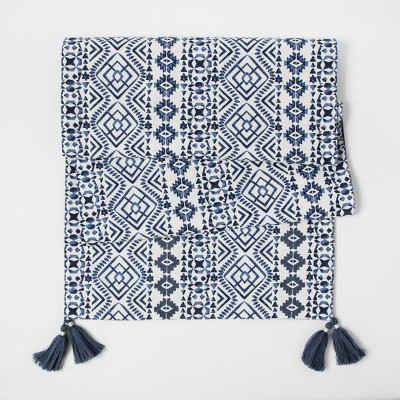 Blue Ikat Design Table Runner - Threshold™
