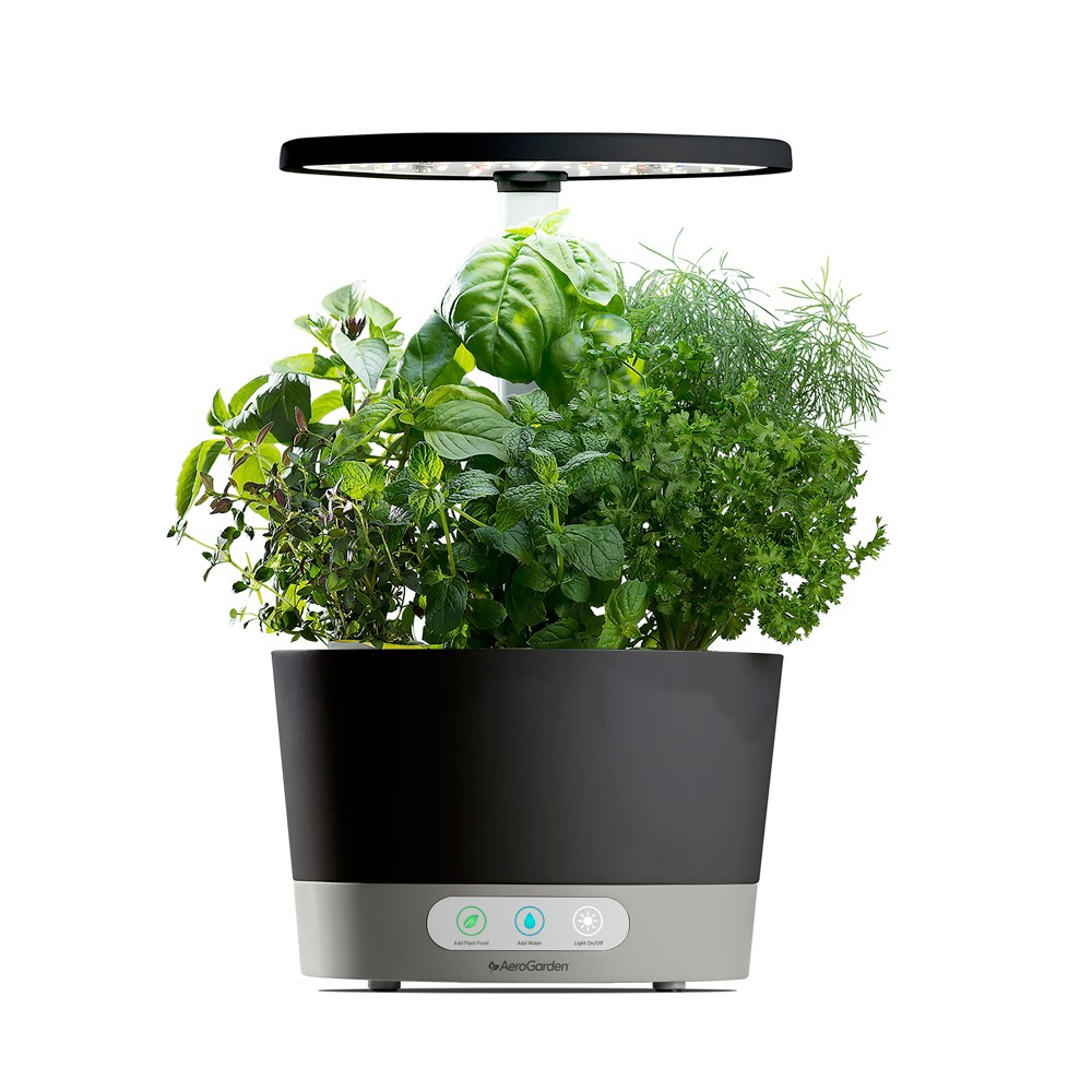 AeroGarden Harvest 360 with Gourmet Herbs 6-Pod Seed Kit - Black
