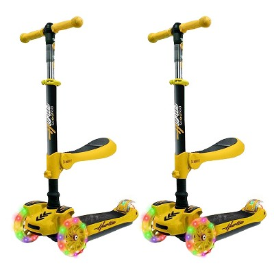 Hurtle ScootKid 3 Wheel Toddler Child Mini Ride On Toy Tricycle Scooter w/ Adjustable Handlebar, Foldable Seat, & LED Light Up Wheels, Yellow (2 Pack)