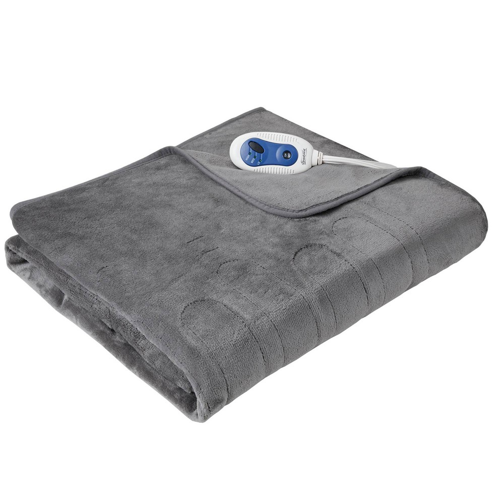 "Image of ""50"""" x 62"""" Plush Electric Throw Blanket with Foot Pocket Gray"""