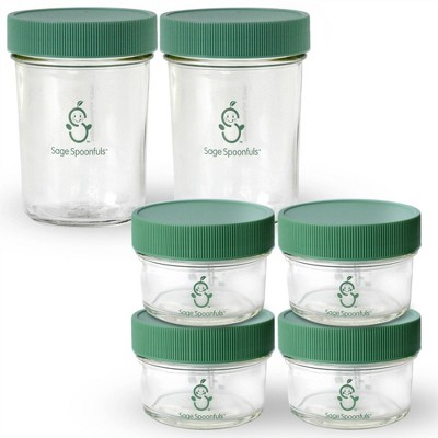 Sage Spoonfuls Glass Make in Bulk 6pk Baby Food Storage Container - Clear - 4oz/8oz