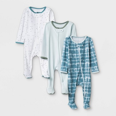 Baby Boys' 3pk Tie-Dye Sleep N' Play - Cloud Island™ Blue/Mint/White 6-9M