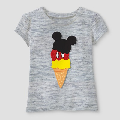 Toddler Girls' Disney Mickey Mouse & Friends Mickey Mouse Short Sleeve T-Shirt - Heather Gray