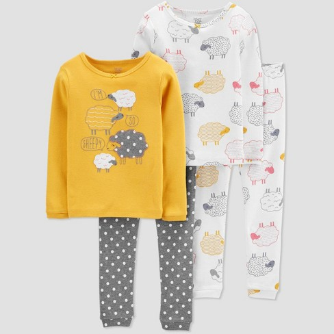 Toddler Girls' 4pc Sheep Pajama Set - Just One You® made by carter's Yellow - image 1 of 1