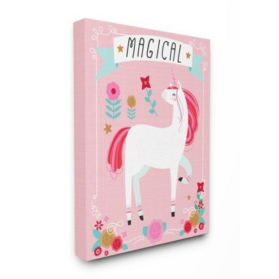 """16""""x1.5""""x20"""" Magical Colorful Unicorn Stretched Canvas Wall Art - Stupell Industries"""