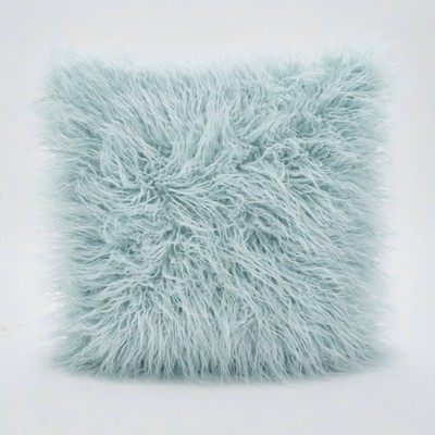 "18"" Poly Filled Faux Mongolian Fur Pillow Ice Blue - Saro Lifestyle"