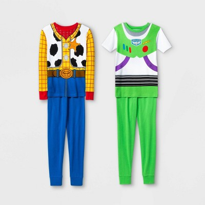 Boys' Toy Story Buzz and Woody 4pc Pajama Set - Blue/White/Green