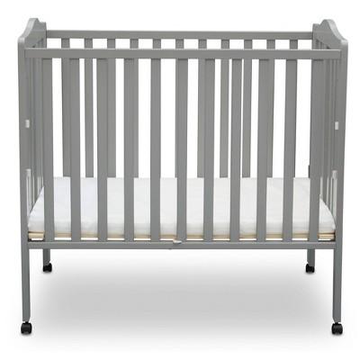 Delta Children Folding Portable Mini Baby Crib with Mattress - Gray