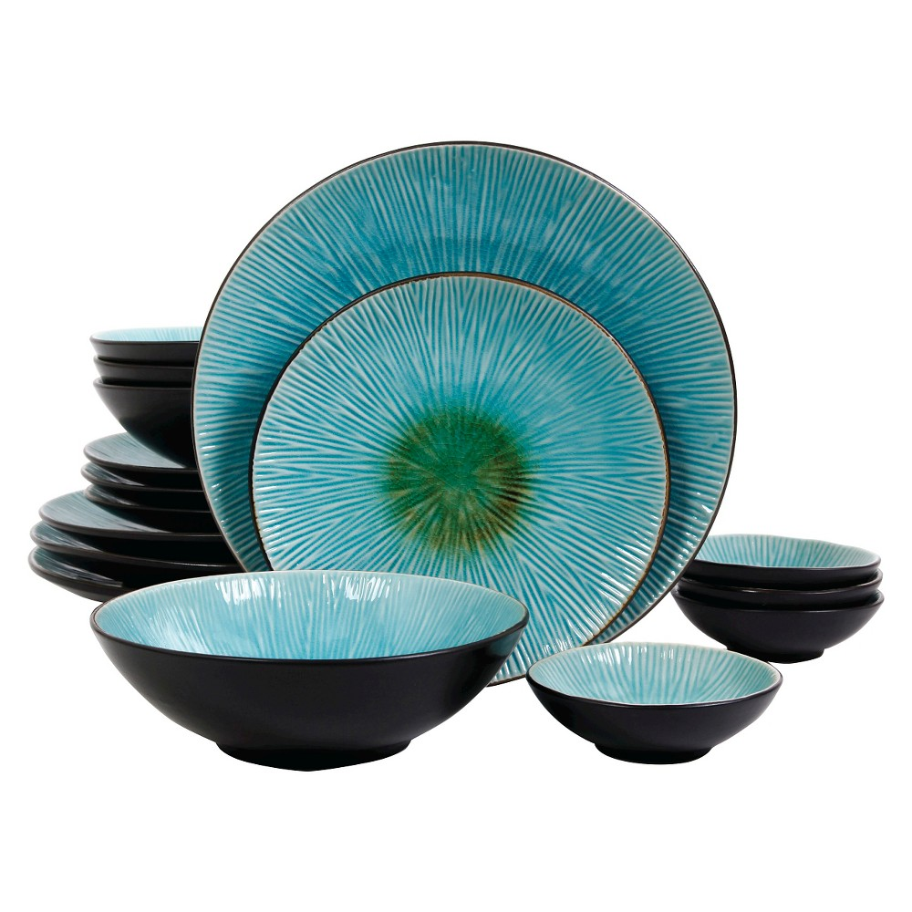 Gibson Shangri-La Court 16pc Dinnerware Set Turquoise, Turqouise/Black