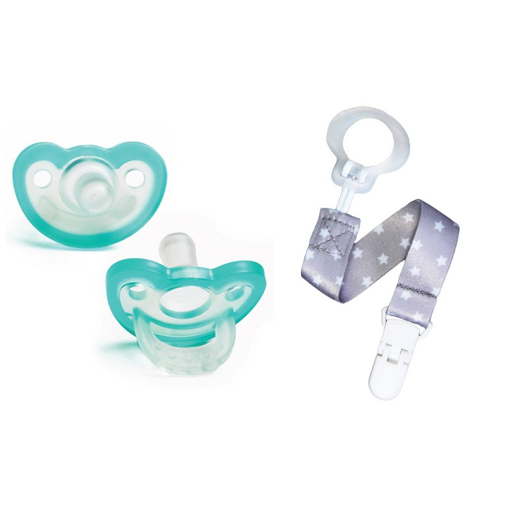Image of RaZbaby JollyPop Pacifier With Universal Holder 2pk - Gray