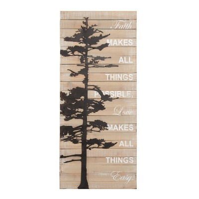 Kate & Laurel 39 x16  Faith Makes All Things Possible Rustic Pallet with Metal Tree Plaque Wall Sign Panels Wood