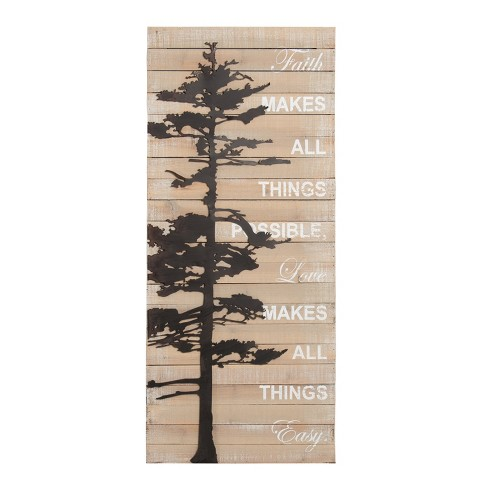 "Kate & Laurel 39""x16"" Faith Makes All Things Possible Rustic Pallet with Metal Tree Plaque Wall Sign Panels Wood - image 1 of 5"
